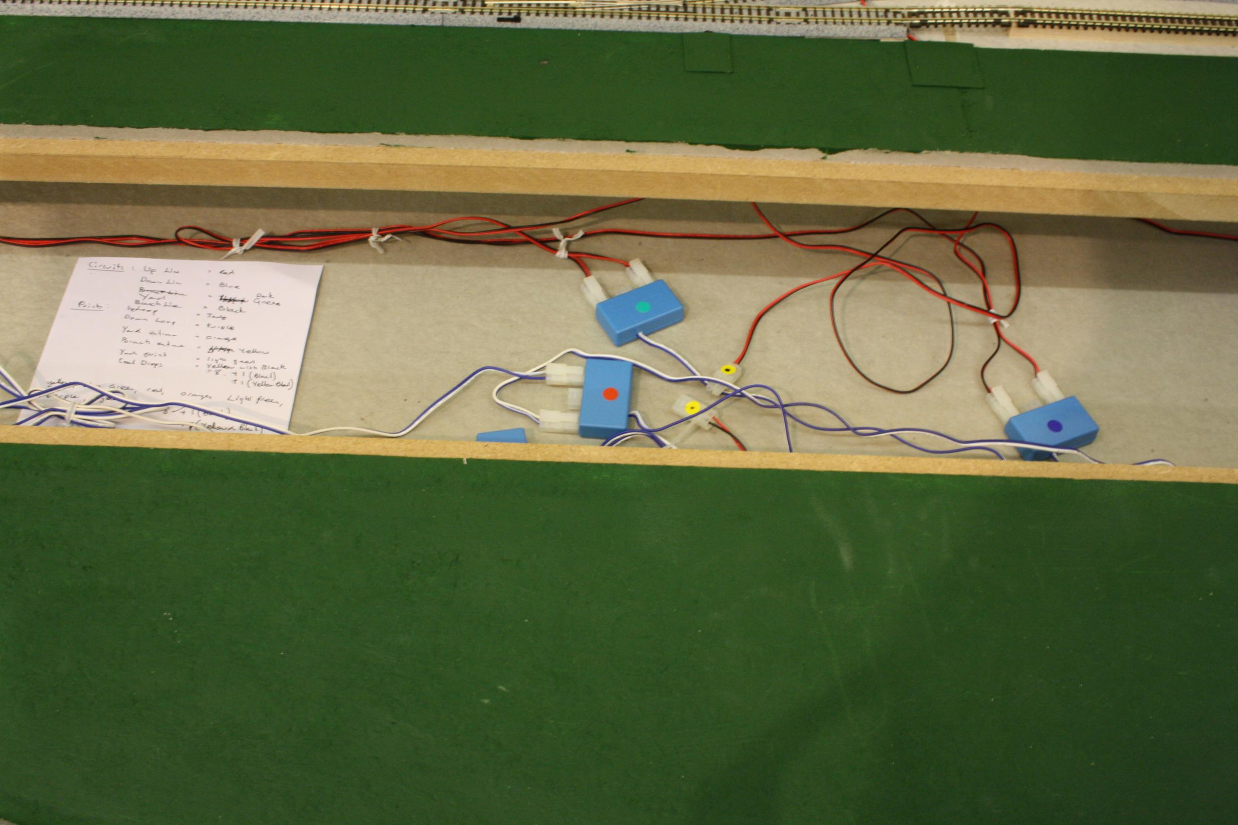 Poppingham A Table Top Railway In British N Gauge Wiring Trough Definition There Several Circuits Here Each With Its Own Identifying Colour The Three Into One Adaptors Are Super For Reducing Amount Of Wires